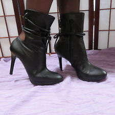 Italy Stella McCartney 37.5 or 7 M Zip Lace Cutout Booties Black Womens Strappy