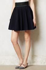 Anthropologie Full Skirt High Waist Pleated Navy Wool Primary Swing By Jourdan 6