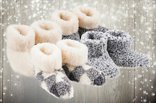 NEW WOMENS LADIES SLIPPERS THERMAL FUR ANKLE BOOTIES WARM SHOES SIZE UK 3 - 8