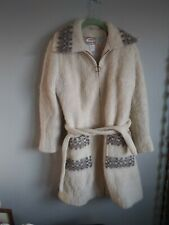 70s Vintage Iceland Wool Coat Curly Icelandic Ivory Shaggy Sweater Jacket Med