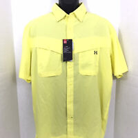Under Armour Tide Chaser Mens Yellow Short Sleeve Button Down Shirt Size L