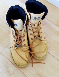 Harley Davidson Keating Men Biker Boots Tan Beige Leather Ankle Work Boot UK 10
