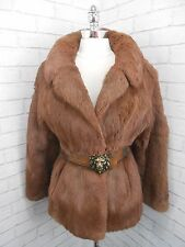 Vintage 70s Short Coppery Auburn Brown Real Coney Fur Retro Jacket Coat 10/12