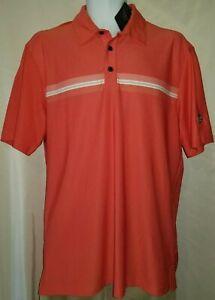 ASHWORTH Golf Polo Shirt, Mens Sz M, Orange, Stripe, Short Sleeves, Stretch, NEW
