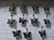 "Ring 14g 7/16"" 316L surgical steel 1 pc Blue Enamel Butterfly Belly Navel"