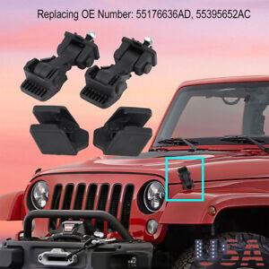 2Set Hood  Catch Bracket Lock Assembly Kit For 1997-2006 Jeep Wrangler TJ