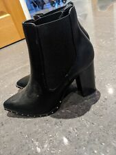 Womens Ladies New Look Black High Heel Winter Studded Ankle Boots Size UK 4 New