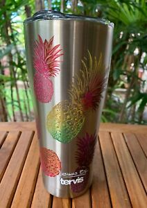 Tervis Watercolor Pineapples Stainless Steel Tumbler with Clear and Black Ham...