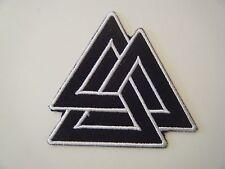 VALKNUT PATCH Embroidered Iron On Badge TRIGON ODIN VIKING PAGAN SYMBOL NEW