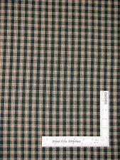 Homespun Fabric - Green Beige Home Spun Plaid Cotton 1285-12 AE Nathan Co - Yard