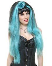 Gothic Aqua Blue Black Long Wig Adult Women Rocker Costume Accessory Flower New
