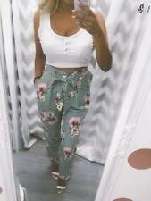 High Waisted Floral Paper bag Trousers
