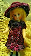"Dress Hat Antique French Crochet -for 6-6.5""Mignonette Kestner All Bisque Doll"