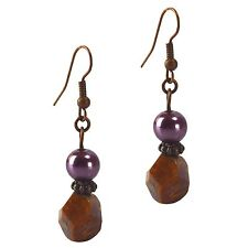 Dangle Beaded Fashion Earrings Agate & Purple Crystal Pearl Antiqued Copper