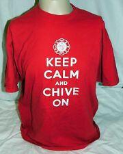 KCCO The Chive Authentic Red Keep Calm Chive On Fire Department Men's XL T Shirt