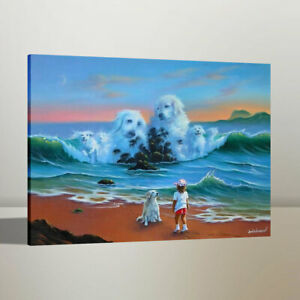 Jim Warren Fantasy Dog Home Wall Decor Art Oil Painting Canvas Print 16x20