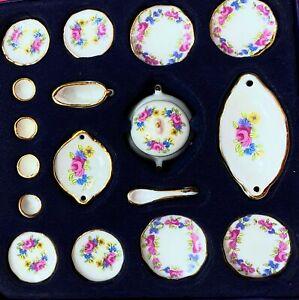 Dollhouse Miniature Hand-Painted Porcelain Pretty  Pink Floral  Dinner Set