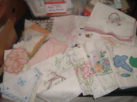 16 Vtg Lot 50s Embroidered Runners with Crochet Lace Edges Cutters Crafts #PE