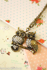 Owls Novelty Necklace cute glitzy vintage style boho chic kitsch fashion pendant