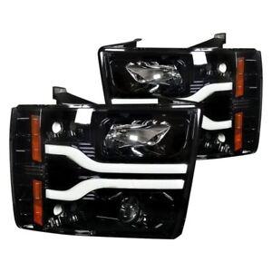 Recon Black/Smoke LED DRL Bar Halo Projector Headlights for 07-14 Silverado