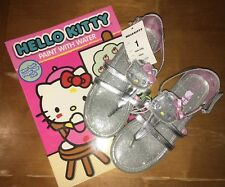 8bd3e7c32 HELLO KITTY SILVER SPARKLE SANDAL DRESSY CASUAL GIRLS SZ 1 NEW + Book Lot  Easter