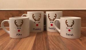 Personalised Christmas Reindeer Mug, Childs Christmas Mug, Family Christmas Mug