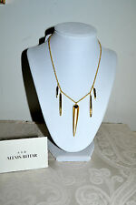 NWT $145 ALEXIS BITTAR Gold Lucite Spear Sport Deco Necklace Crystal Encrusted