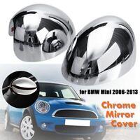 Left + Right Chrome Door Wing Mirror Cap Cover Plastic For BMW Mini Cooper  #