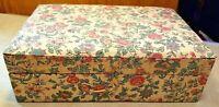"Retro Fabric Covered Wood Jewelry Box Mid Century Floral Print 10.5""x7""x3.5"" MCM"