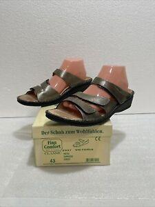 Finn Comfort Victoria Womens' Sandals Metal Espresso Euro 43 D US 12 - 12.5