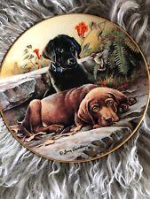 1995 Lenox plate Labrador Dogs/ Puppy Larry Chandler Black & Tan