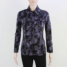 Diesel Womens Size M Black & Purple Floral Long Sleeve Shirt