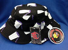 Purple Drank Printed Black Full-Brim Bucket Hat ONE SIZE Piranha Records