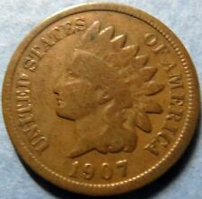 *1907  INDIAN  HEAD  BRONZE  PENNY, Nice Details Philadelphia Mint Coin  #5