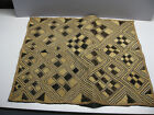 SET OF 4 VINTAGE LARGE HANDWOVEN KUBA AFRICAN RAFFIA CLOTH WITH BOUND EDGES