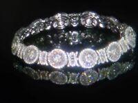 14k  WG  & ss  BAGUETTE ROUND LCS DIAMOND TENNIS BRACELET 8 INCH  + BONUS!
