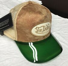 NWT Von Dutch Adjustable Snapback TAN Trucker Hat Cap GREEN UV Protector Visor