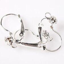 10 pcs Silver Plated Rhinestone Hooks Earrings Findings size: 24*13 mm