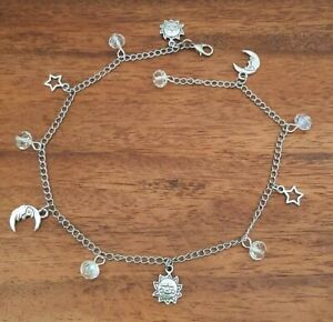 Long Adjustable Chain Anklet + Stars, Moon + Sun Charms + Glass Crystal Beads
