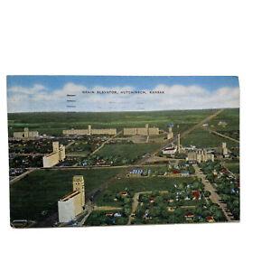 Hutchinson Kansas Aerial View Grain Elevators Vintage Postcard