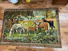 """Vintage Italian Horse Tapestry 70"""" x 49"""" Made In Italy"""