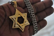 24K Gold Plated Star Of David Pendant Jewish Charm Stainless Steel Chain 30 cm