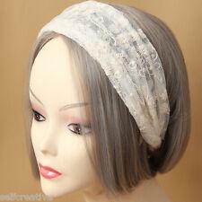 Womens Bridal Layered Lace Flower Stretch Hair Band Head Wrap Elastic Headband