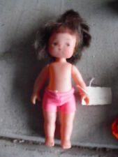 """Vintage 1960s Jointed Plastic Brown Hair Character Girl Doll 6 1/4"""" Tall #2"""
