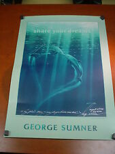 """Signed Art Poster HARMONY II by GEORGE SUMNER 34""""x24"""" DOLPHINS Porpoise MARINE"""