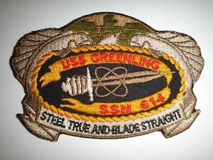 US Navy USS GREENLING SSN-614 Submarine STEEL TRUE AND BLADE STRAIGHT Patch