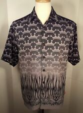JNCO Mens SZ S ButtonDown Short Sleeve Shirt Black w/ Gray & Black Skulls Crown