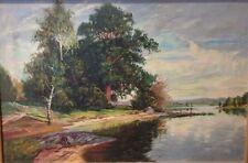 Vintage Landscape Painting Signed G Sigvard? Oil Canvas Framed