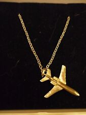 """Falcon 50/900 code104 Plane On a 16"""" Silver Plated Curb Chain Necklace"""