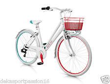 """Bici City Bike MBM Minimal Colors Donna in alluminio (mod. 595 - 28"""" 6 Velocità) Bianco con Cesto Cream"""